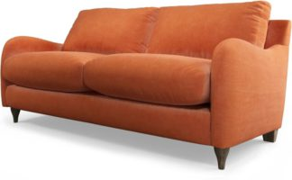 An Image of Custom MADE Sofia 2 Seater Sofa, Plush Coral Velvet with Light Wood Legs