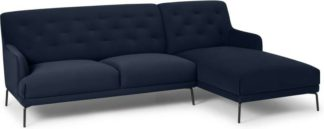 An Image of Attwood Right Hand Facing Chaise End Corner Sofa, Ink Blue Velvet