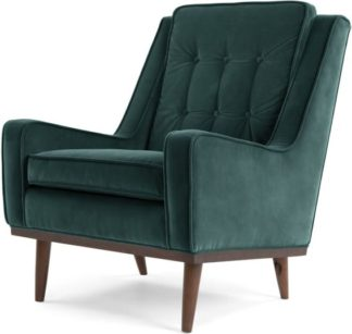 An Image of Scott Armchair, Petrol Cotton Velvet