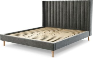 An Image of Custom MADE Cory Super King size Bed, Steel Grey Velvet with Oak Legs