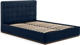 An Image of Lavelle Super King Size Ottoman Storage Bed, Ink Blue Velvet & Walnut Stain Plinth