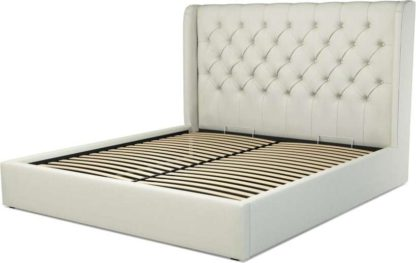 An Image of Custom MADE Romare Super King size Bed with Ottoman, Putty Cotton