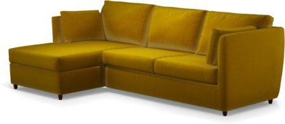 An Image of Milner Left Hand Facing Corner Storage Sofa Bed with Memory Foam Mattress, Saffron Yellow Velvet
