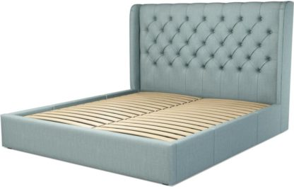 An Image of Custom MADE Romare Super King size Bed with Drawers, Sea Green Cotton