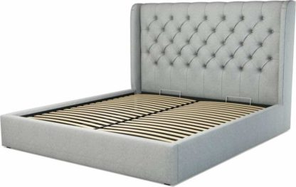 An Image of Custom MADE Romare Super King size Bed with Ottoman, Wolf Grey Wool