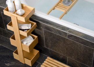 An Image of Wireworks Bathroom Storage Stand Bamboo 4 tier