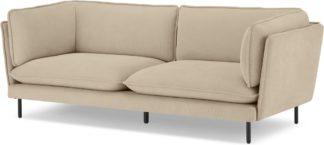 An Image of Wes 3 Seater Sofa, Stone Corduroy Velvet