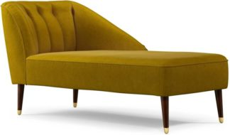 An Image of Margot Right Hand Facing Chaise Longue, Antique Gold Cotton Velvet with Dark Wood Brass Leg