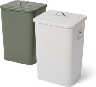 An Image of Jaber Lidded Recycling Bins, 2 x 26L Forest Green & Cool Grey