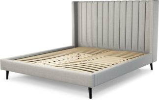 An Image of Custom MADE Cory Super King size Bed, Ghost Grey Cotton with Black Stained Oak Legs