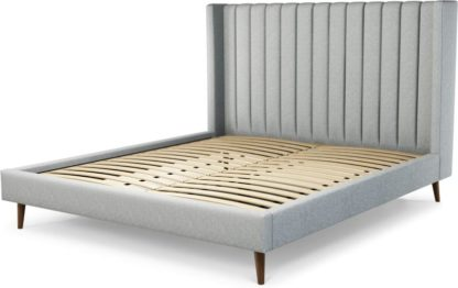 An Image of Custom MADE Cory Super King size Bed, Wolf Grey Wool with Walnut Stained Oak Legs