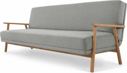 An Image of Lars Click Clack Sofa Bed, Mountain Grey and Oak Frame