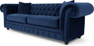 An Image of Branagh 3 Seater Chesterfield Sofa, Electric Blue Velvet