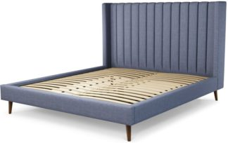 An Image of Custom MADE Cory Super King size Bed, Denim Cotton with Walnut Stained Oak Legs