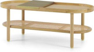 An Image of Ankhara Coffee Table, Natural Oak & Rattan