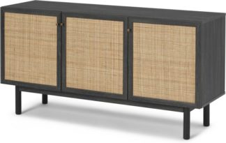An Image of Pavia Sideboard, Natural Rattan & Black Wood Effect