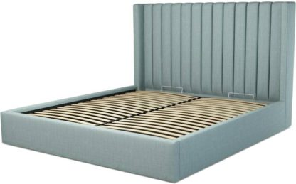An Image of Custom MADE Cory Super King size Bed with Ottoman, Sea Green Cotton