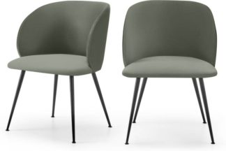 An Image of Adeline Set of 2 Carver Dining Chairs, Sage Green Velvet & Black