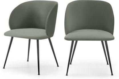 An Image of Adeline Set of 2 Carver Dining Chairs, Sage Green Velvet & Black