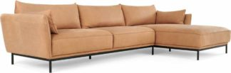 An Image of Odelle, Right Hand Facing Chaise End Corner Sofa, Tan leather