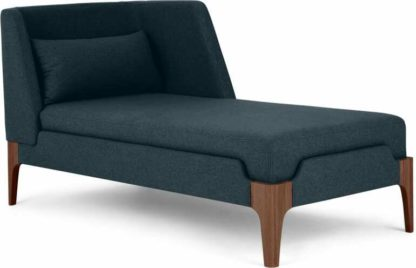 An Image of Roscoe Right Hand Facing Chaise Longue, Aegean Blue with Brown Legs