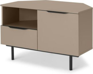 An Image of Damien Corner TV Unit, Cappuccino & Black