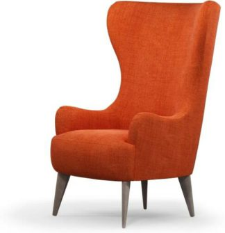 An Image of Bodil Accent Armchair, Rust Orange with Light Wood Leg