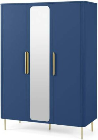 An Image of Ebro Triple Wardrobe, Blue