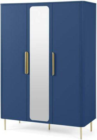 An Image of Ebro Triple Wardrobe, Blue