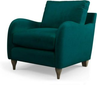 An Image of Custom MADE Sofia Armchair, Plush Mallard Velvet with Light Wood Leg