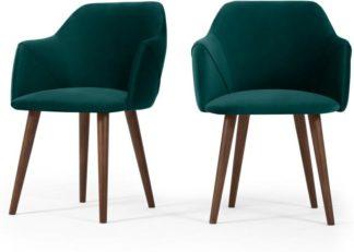 An Image of Set of 2 Lule Carver Dining Chairs, Seafoam Blue Velvet