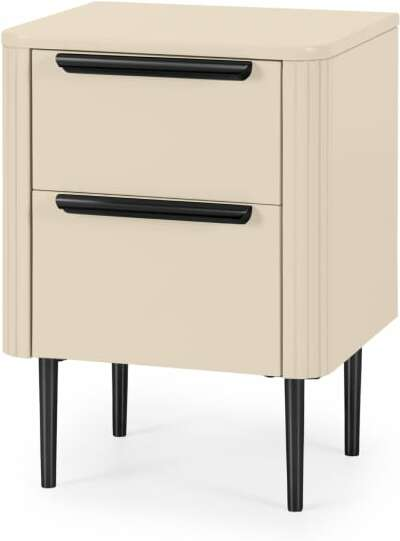 An Image of Ebro Bedside Table, Ivory White & Black