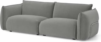 An Image of Dion 3 Seater Sofa, Light Grey Velvet with Stainless Steel Frame