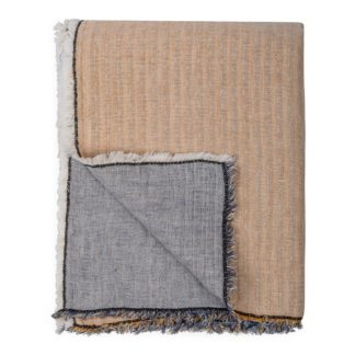 An Image of Heal's Linen Mix Double-Faced Throw Yellow