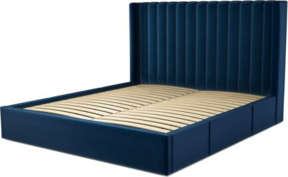 An Image of Custom MADE Cory Super King size Bed with Drawers, Regal Blue Velvet
