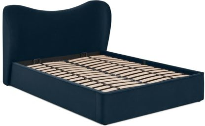 An Image of Kooper Double Ottoman Storage Bed, Sapphire Blue Velvet