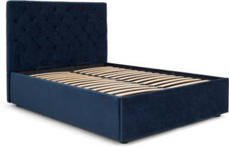 An Image of Skye Double Ottoman Storage Bed, Royal Blue Velvet