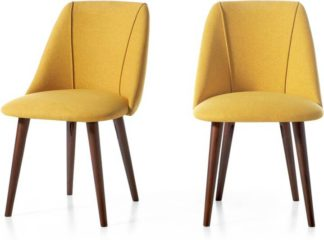 An Image of Set of 2 Lule Dining Chairs, Yellow and Walnut