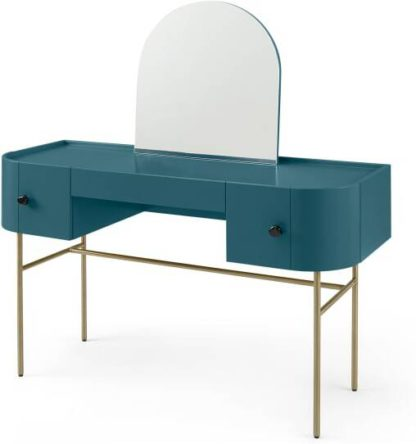 An Image of Tandy Dressing Table, Teal Blue with Gloss Black Handles & Brass Legs