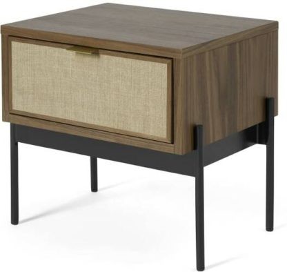 An Image of Balmore Bedside Table, Walnut & Hessian