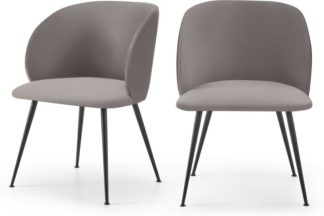 An Image of Adeline Set of 2 Carver Dining Chairs, Latte Velvet & Black