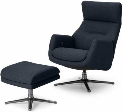 An Image of Paxton Reclining Accent Armchair and Footstool, Elite Navy