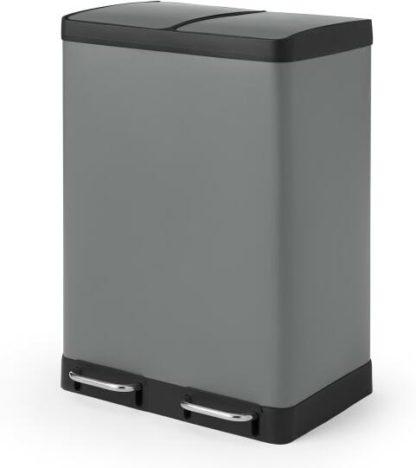 An Image of Colter 60L, Soft Close Double Recycling Pedal Bin, x2 30L, Dark Grey