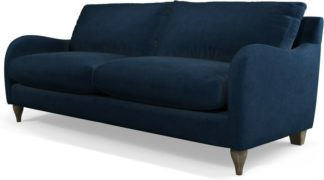 An Image of Custom MADE Sofia 3 Seater Sofa, Plush Indigo Velvet with Light Wood Leg