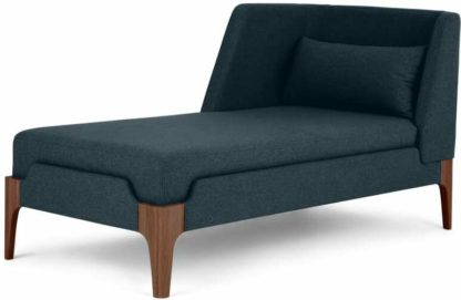 An Image of Roscoe Left Hand Facing Chaise Longue, Aegean Blue with Brown Leg