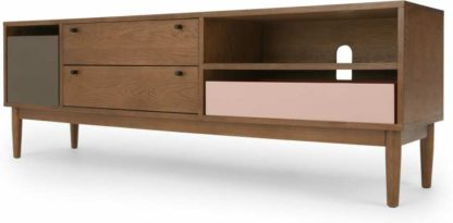 An Image of Campton Wide TV Stand, Dark Stain Oak and Grey