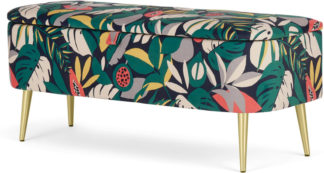 An Image of Abel Ottoman Storage Bench, Curator Floral Print & Brass Legs
