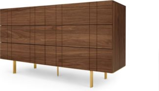 An Image of Keaton Wide Chest of Drawers, Walnut & Brass