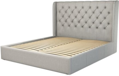 An Image of Custom MADE Romare Super King size Bed with Drawers, Ghost Grey Cotton