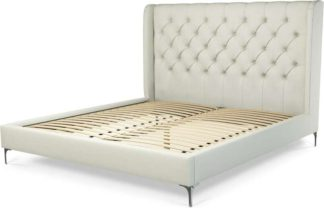 An Image of Custom MADE Romare Super King Size Bed, Putty Cotton with Nickel Legs